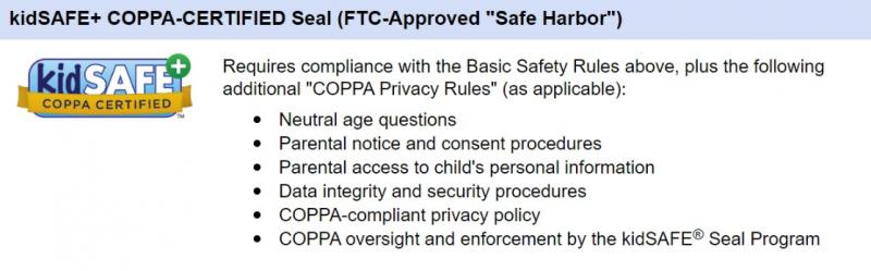 COPPA certified KidsSAFE